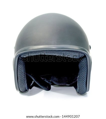 Black open face motorcycle helmet on white background. Royalty-Free Stock Photo #144901207