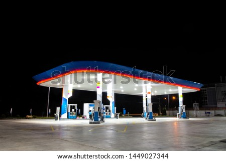 Oil and Gas fuel station on night open beautiful lighting  #1449027344