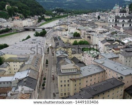 Salzburg, Austria is a beautiful medieval town, known as the birthplace of Mozart. #1449103406