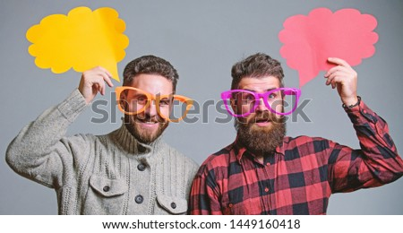 Men joking. Share opinion speech bubble copy space. Comic and humor sense. Men with beard and mustache mature hipster wear funny eyeglasses. Explain humor concept. Funny story and humor. Comic idea.