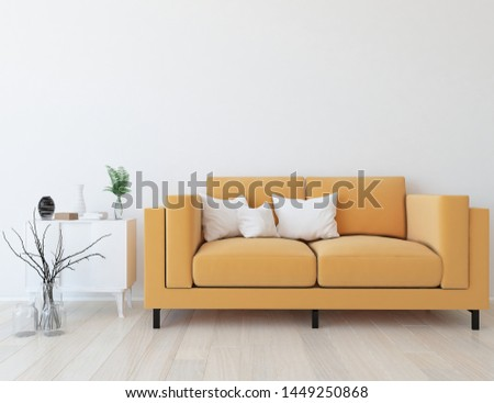Idea of a white scandinavian living room interior with sofa, dresser, vases on the wooden floor and decor on the large wall and white landscape in window. Home nordic interior. 3D illustration #1449250868