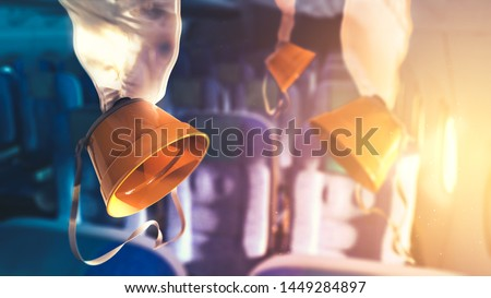 Airplane oxygen masks with lens flare. 3D rendering, illustration #1449284897