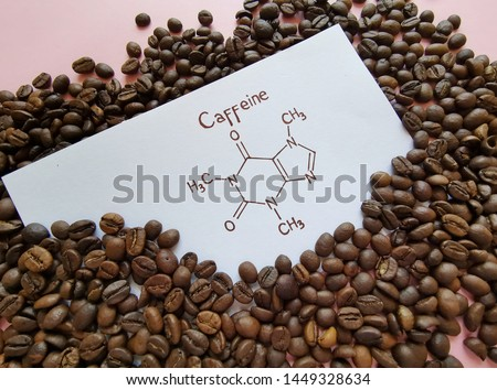 Structural chemical formula of caffeine molecule with roasted coffee beans. Caffeine is a central nervous system stimulant, psychoactive drug molecule. #1449328634