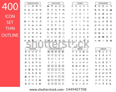 Simple set thin line icons. Contains such Icons as Business, autumn, E-commerce, Technology, Medical, Education, Web Development,labour,media,office,navigation,ocean and more. Linear pictogram pack. #1449407708