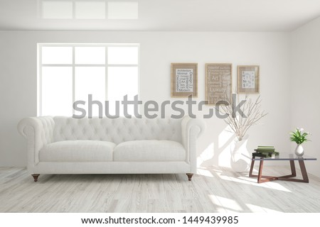 Stylish room in white color with sofa. Scandinavian interior design. 3D illustration #1449439985
