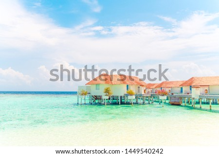 Beautiful tropical Maldives resort hotel and island with beach and sea - holiday vacation background concep #1449540242