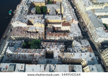 St Petersburg, Russia - July 11, 2019: Aerial Townscape of Saint Petersburg City. Central  District #1449543164