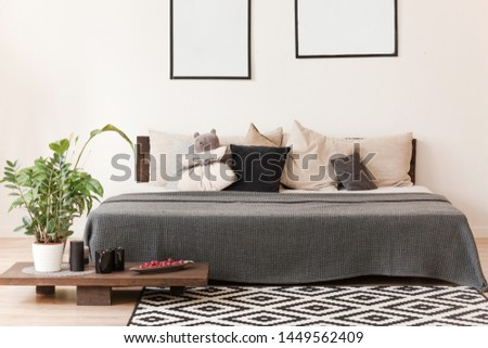 Scandinavian style bedroom with double bed #1449562409