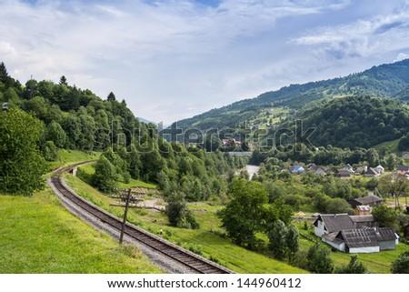 The railway near the village of kvass. Ukrainian Carpathians #144960412