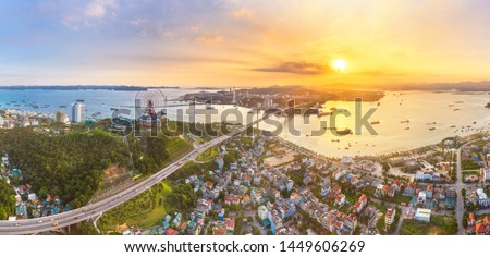 Panorama of Ha Long City, Vietnam, with Sun World Halong park and Bai Chay bridge. Near Halong Bay, UNESCO World Heritage Site. Popular landmark, famous destination of Vietnam. Aerial view #1449606269