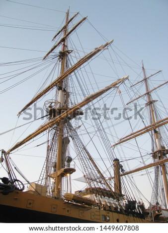 Sailboat equipment, main mast, mizzen-mast, rigging and guys, sea adventures #1449607808