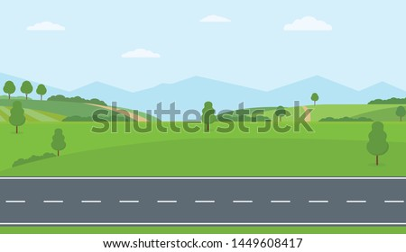 Straight empty road through the countryside. Green hills, blue sky, meadow and mountains. Summer landscape vector illustration. Royalty-Free Stock Photo #1449608417