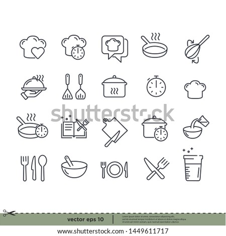 Cooking icons. design element. Boiling time, Frying pan and Kitchen utensils. Fork, spoon and knife line icons. Recipe book, chef hat and cutting board. Cooking book, frying time, hot pan. Vector #1449611717
