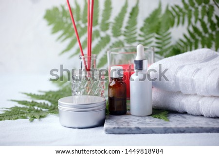 Beauty and fashion concept with spa set on marble plate, sea salt, aroma oil, aroma stick, cotton towels, eco friendly, zero waste relax and wellness background #1449818984