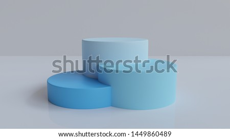 3d rendered abstract podium background   - Abstract, 3d rendered white background with blue podium #1449860489