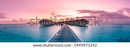 Amazing panorama beach landscape. Maldives sunset seascape view. Horizon with sea and sky. Tranquil scenery, tourism and travel banner. Summer  luxury resort landscape, vacation holiday island concept Royalty-Free Stock Photo #1449873242