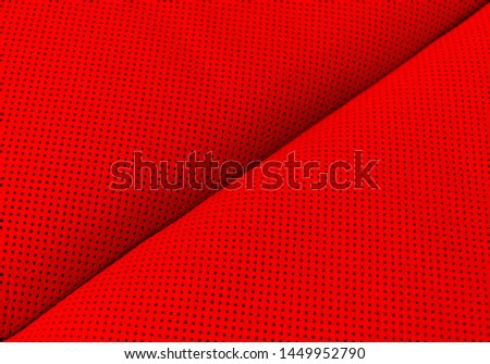 Modern luxury Car red leather interior.  Part of perforated leather car seat details. Red Perforated leather texture background. Texture, artificial leather with stitching.  #1449952790