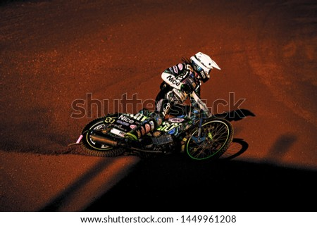 HALLSTAVIK, SWEDEN, JULY 6, 2019: Antonio Lidback (SWE) at the Speedway GP in Hallstavik and HZ Bygg Arena. #1449961208