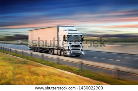 Truck with container on highway, cargo transportation concept. Shaving effect. #1450022900
