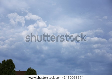 cloudy sky background view over roof #1450038374