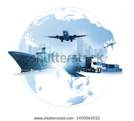 The world logistics , there are world map with logistic network distribution on background and Logistics Industrial Container Cargo freight ship for Concept of fast or instant shipping #1450065032