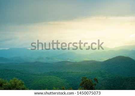 Landscape view of mountains under mist in the morning over the dam in Kanchanaburi, Thailand #1450075073
