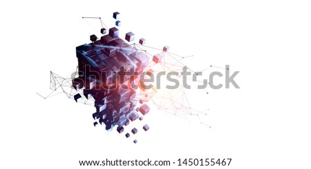 Cube puzzle with network diagram