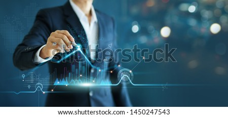Businessman drawing growth graph chart sales and data economic on global structure networking connection. #1450247543