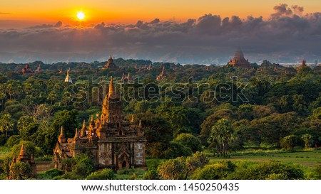Asian ancient architecture archaeology temple in Bagan at sunset, Myanmar ananda temples in the Bagan Archaeological Zone Pagodas and temples of Bagan world heritage site, Myanmar, Asia. #1450250435