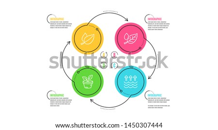 Mint leaves, Leaves and Leaf dew icons simple set. Infographic timeline. Evaporation sign. Mentha herbal, Grow plant, Water drop. Global warming. Nature set. Cycle infographic. Vector #1450307444