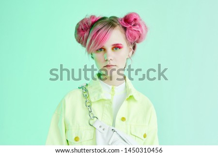 stylish woman with pink hair