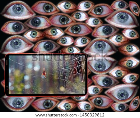 Computer security concept: your phone is watching for your life. Spider web as a symbol of Internet on smartphone screen on background of human eyes  #1450329812