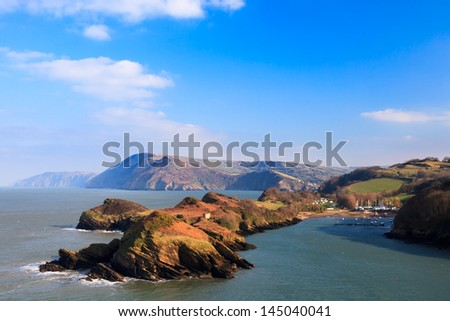 Stunning coastal scenery overlooking Watermouth Cove North Devon England UK Royalty-Free Stock Photo #145040041
