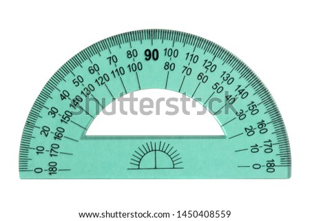 Green protractor ruler isolated on white background