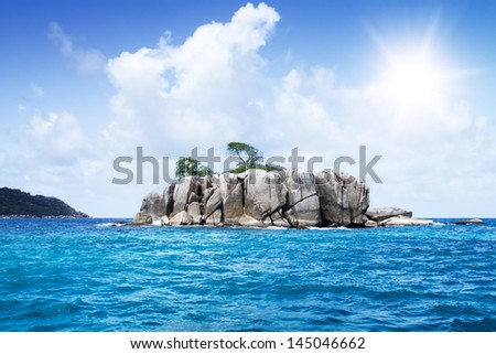 Cloudscape. Blue sea and white cloud with green island. Sea and skyline. Seychelles #145046662