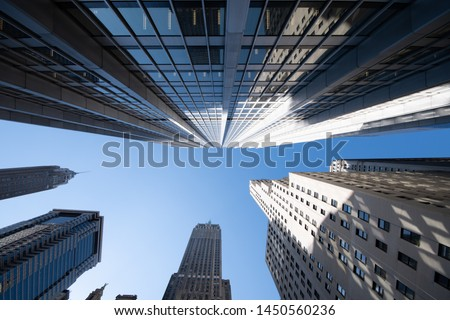 low angle skyscraper view in manhattan #1450560236