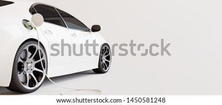 E-mobility, electric car charging battery. 3d rendering #1450581248