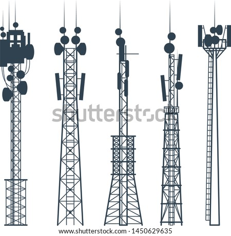 Transmission cellular towers, satellite communication antenna silhouette, of radio signal tower #1450629635