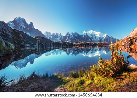 Sunrise  panorama of the Lac Blanc lake with Mont Blanc (Monte Bianco) on background, Chamonix location. Beautiful outdoor scene in Vallon de Berard Nature Reserve, France #1450654634