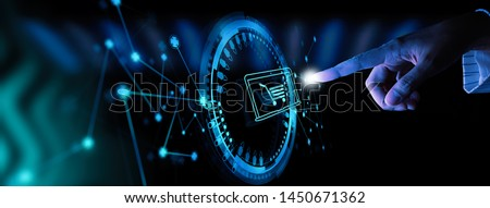 Hand pushing virtual symbol of online shopping with modern UI computer and smart phone. Royalty-Free Stock Photo #1450671362