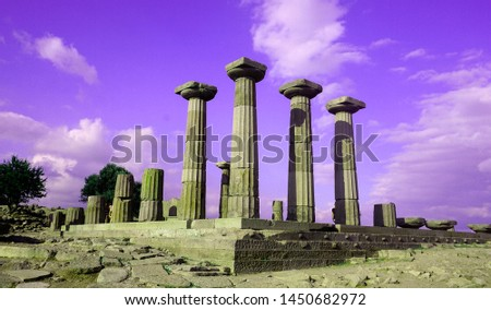 The ancient ruins of Athena Temple at Assos, Canakkale. Columns of Athena temple in Assos.  #1450682972