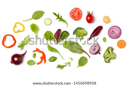 Creative layout made of tomato slice, onion, cucumber, basil leaves. Flat lay, top view. Vegetables isolated on white background. Food ingredient pattern. #1450698908