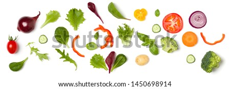 Creative layout made of tomato slice, onion, cucumber, basil leaves. Flat lay, top view. Food concept. Vegetables isolated on white background. Food ingredient pattern. #1450698914