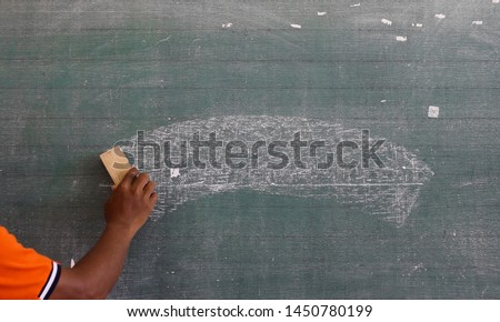 Teacher hand hold on blackboard background. Education texture. #1450780199