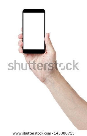 adult man hand holding generic touch device, isolated in white with white screen #145080913