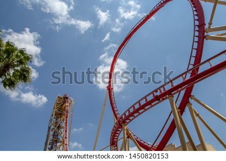 Orlando, Florida, USA, August 1, 2019: Universal Orlando Resort, Sheikra, Florida's scariest roller coaster, curvy, innovative and themed technology, incredible attraction. #1450820153