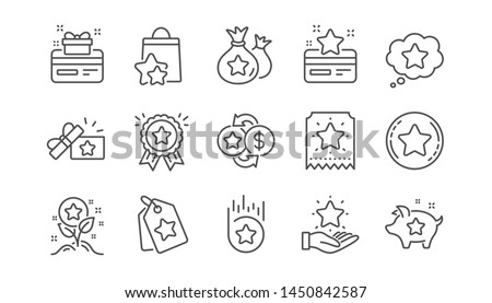 Loyalty program line icons. Bonus card, Redeem gift and discount coupon signs. Lottery ticket, Earn reward and winner gift icons. Linear set. Vector #1450842587