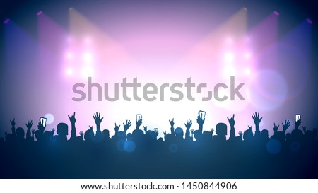 Scene, crowd of fans, rock concert, music festival, night club #1450844906