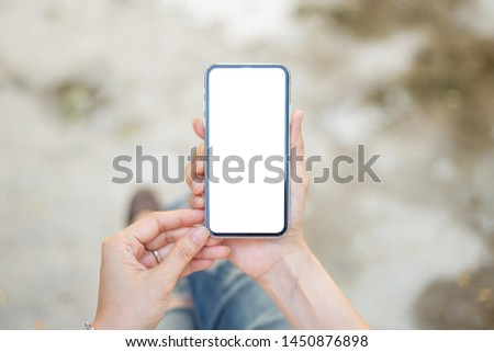 Mockup image screen cell phone. #1450876898