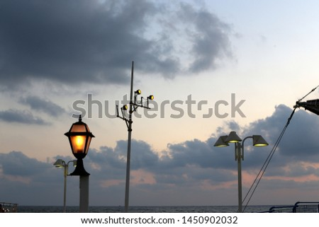 lantern for lighting in a city park in Israel #1450902032